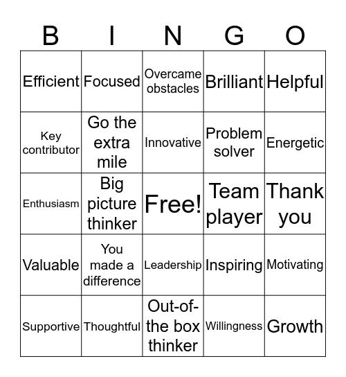 APPRECIATION Bingo Card
