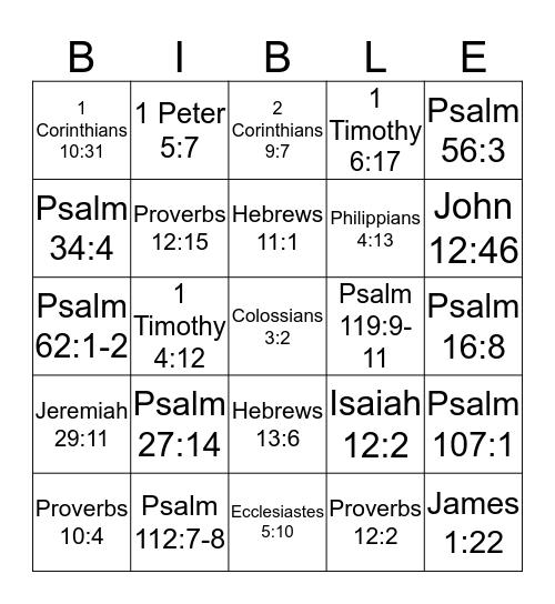 BIBLE VERSES Bingo Card