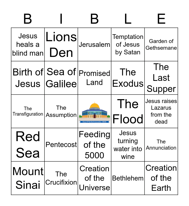 Bible Places and Events Bingo Card