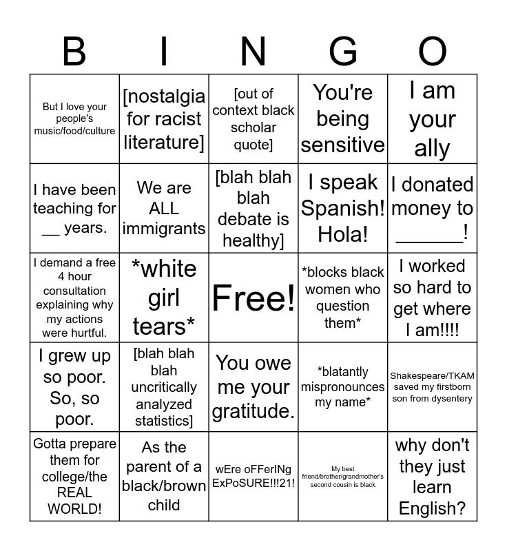 #edutwitter white fragility bingo! Bingo Card