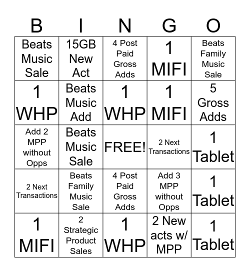 February Bingo Card