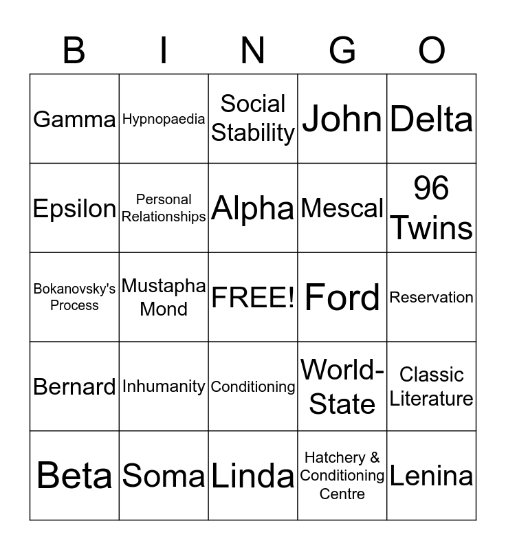 Brave New World Bingo Card