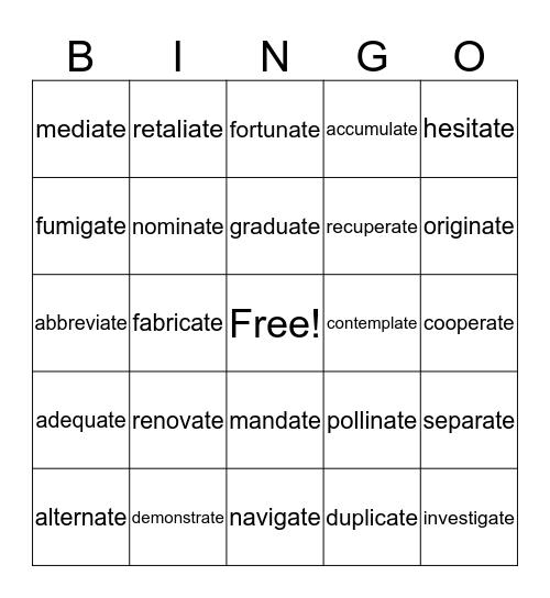 Lesson 4 Suffix -ate Bingo Card