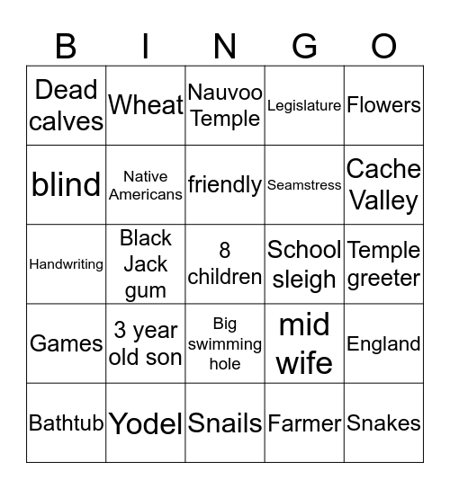 Logan Bingo Card