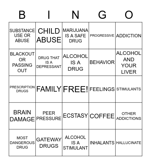 Drugs and Alcohol  Bingo Card