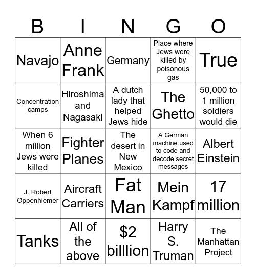 #9 Test Bingo Card