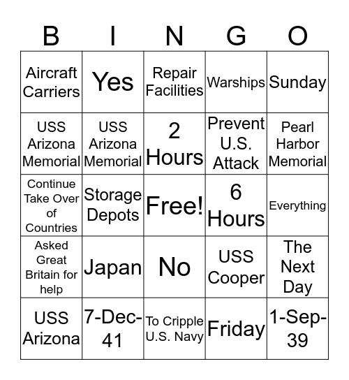 Pearl Harbor Bingo Card