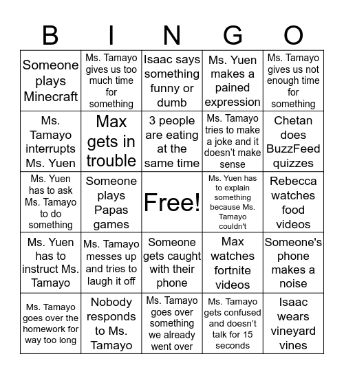 English Class Bingo Card