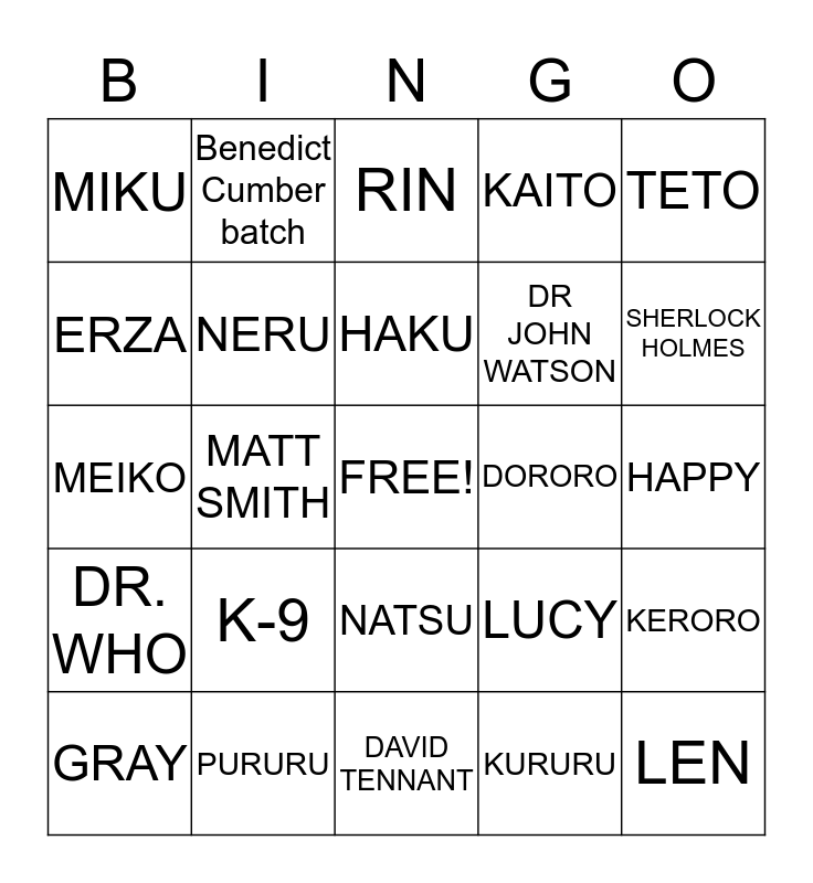 Crazy Character Mash-Up  Bingo Card