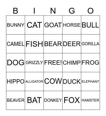 ANIMAL Bingo Card