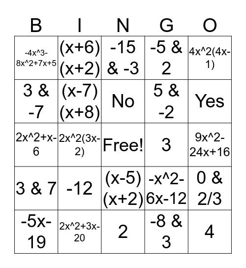 Algebra Ch 9 Review Bingo Card