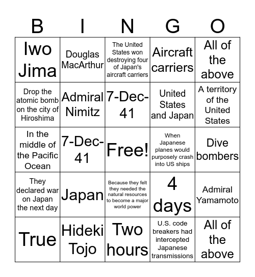 Win #7 Bingo Card