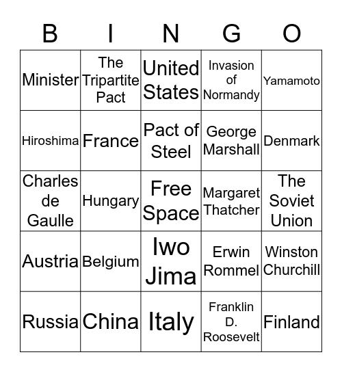 WW2 Allied Powers, Axis Powers, Europe Bingo Card