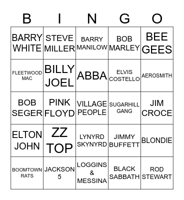 1970's MUSIC BINGO Card