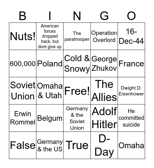 Battle of the Bulge Bingo Card