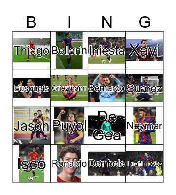 Spanish Soccer Players Bingo Card