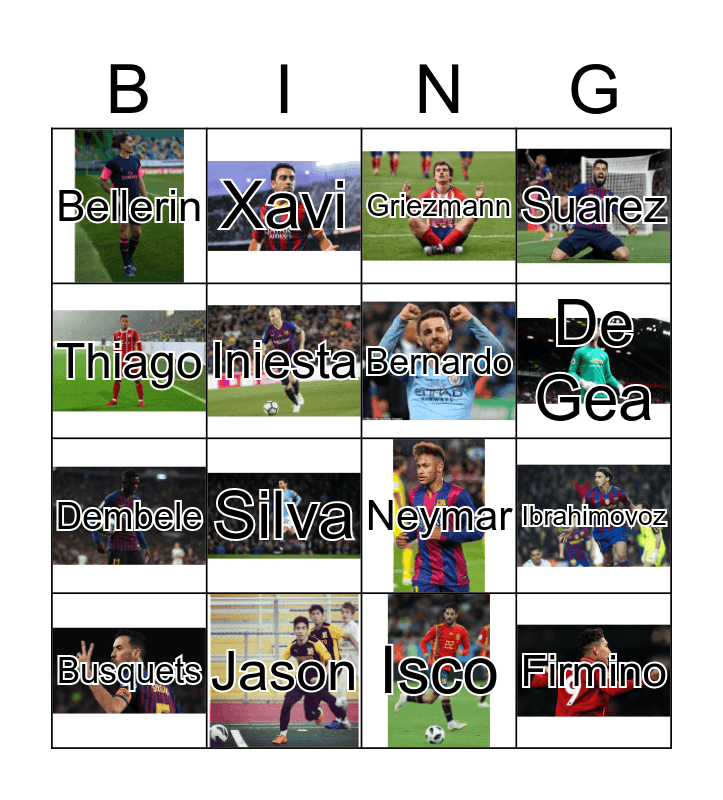 Spanish Soccer Players Bingo Card
