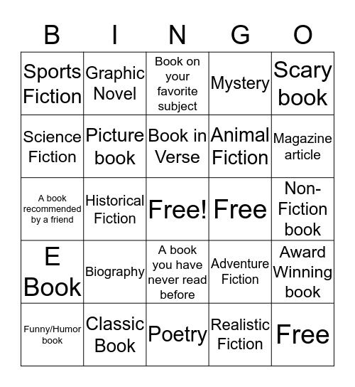 Summer Book Bingo Card