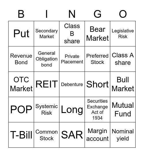 SIE Bingo 1 Bingo Card
