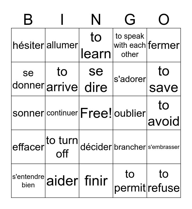 Know Your French Bingo Card