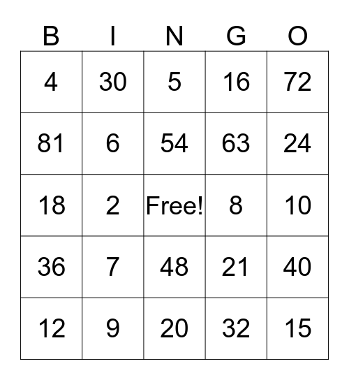 Multiplication and Division Bingo Card