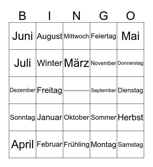Datum Bingo Card