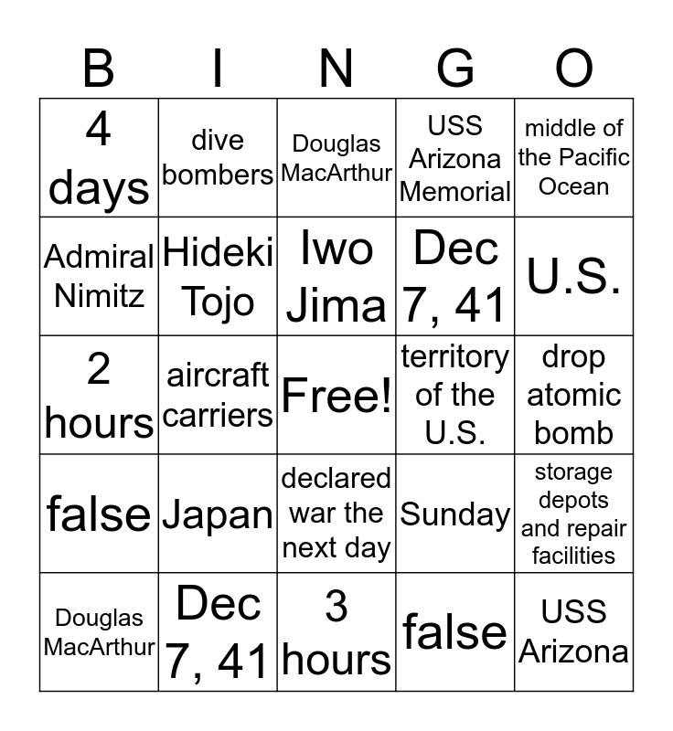 WW2 Pacific, Battle of Midway, & Pearl Harbor Bingo Card