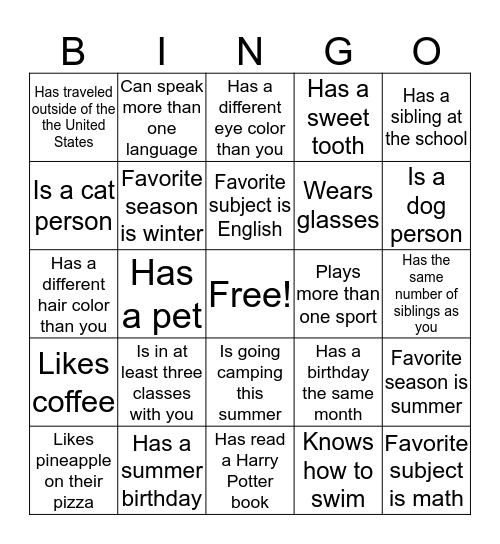 End of the Year Bingo Card
