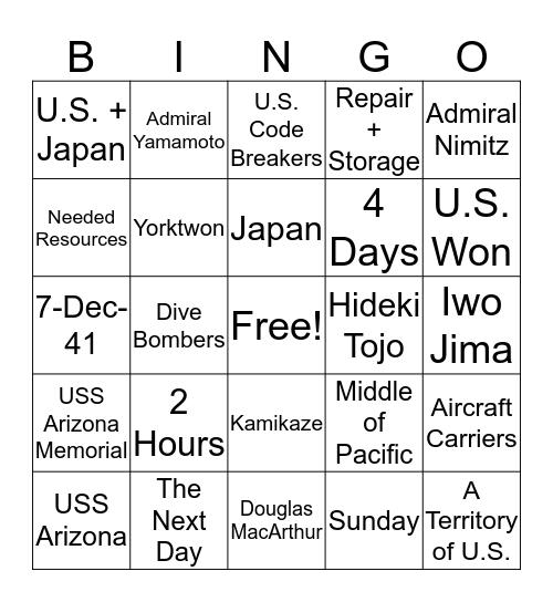 #7 Bingo Card
