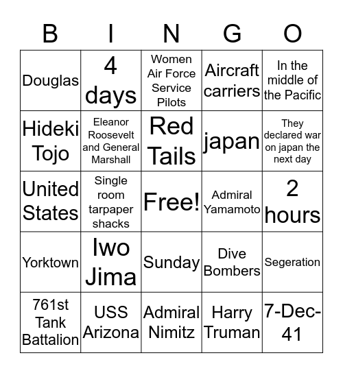 10 Bingo Card
