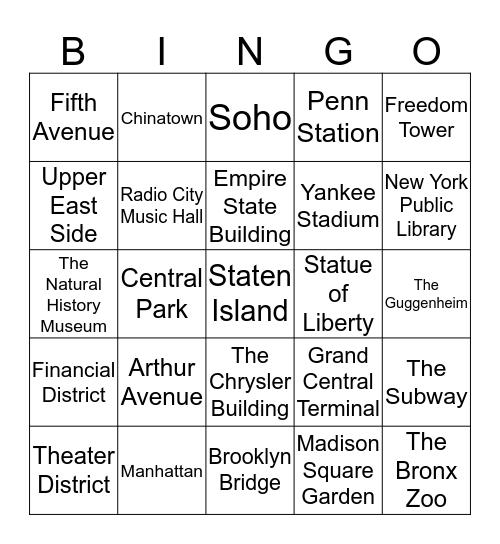 New York, New York Bingo Card