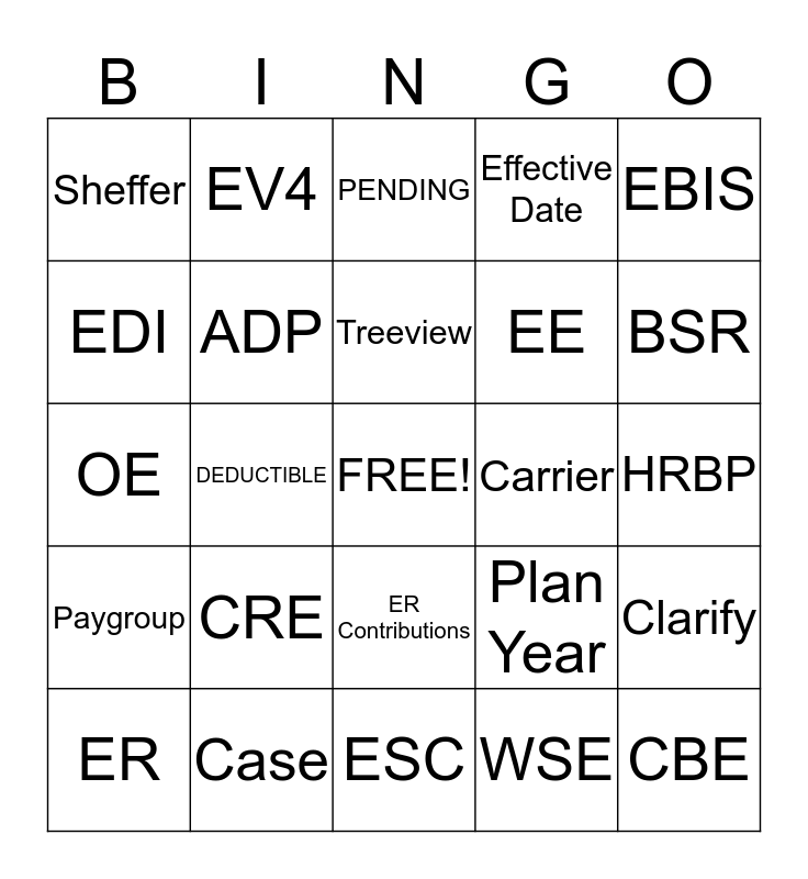ADP TOTALSOURCE  Bingo Card