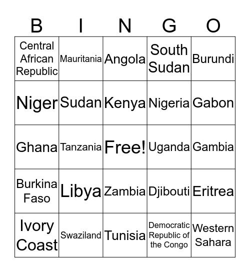 Africa Country Bingo Card