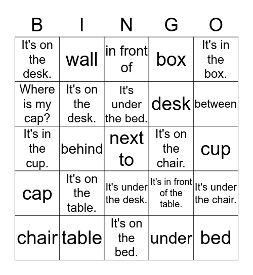 Where's my cap? Bingo Card