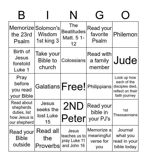 Adult Bible Bingo Card