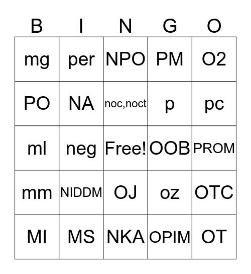 meds-PROM Bingo Card