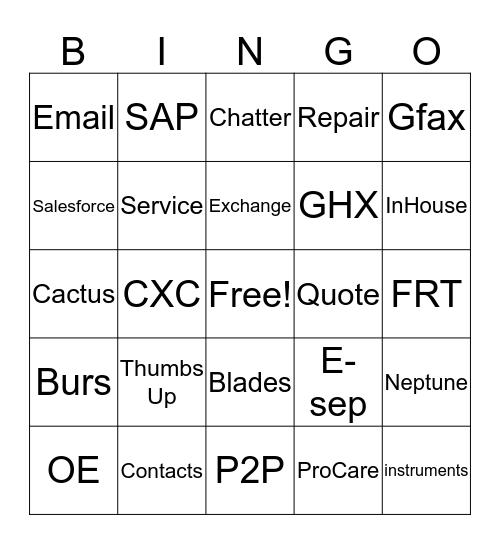 Peer 2 Peer Bingo Card