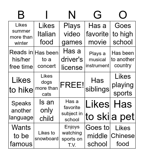 Introduction Bingo Card
