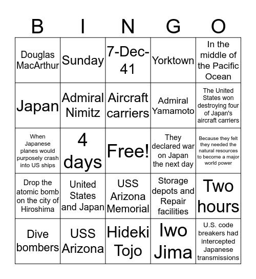 7 Bingo Card