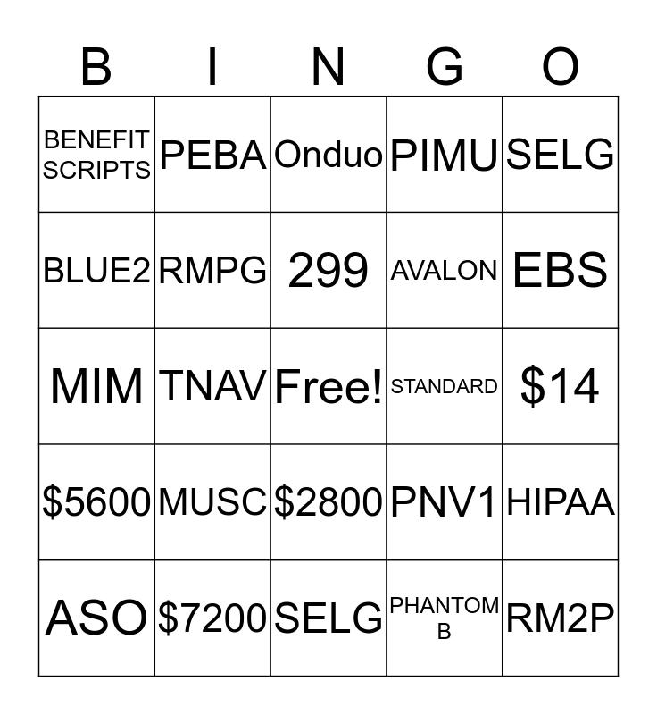 SHP Bingo Card