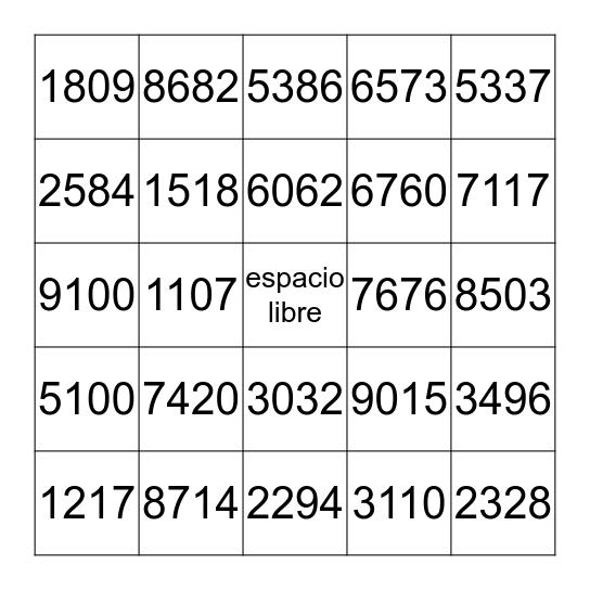 4 digitos Bingo Card
