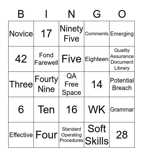 Quality Assurance Bingo Card