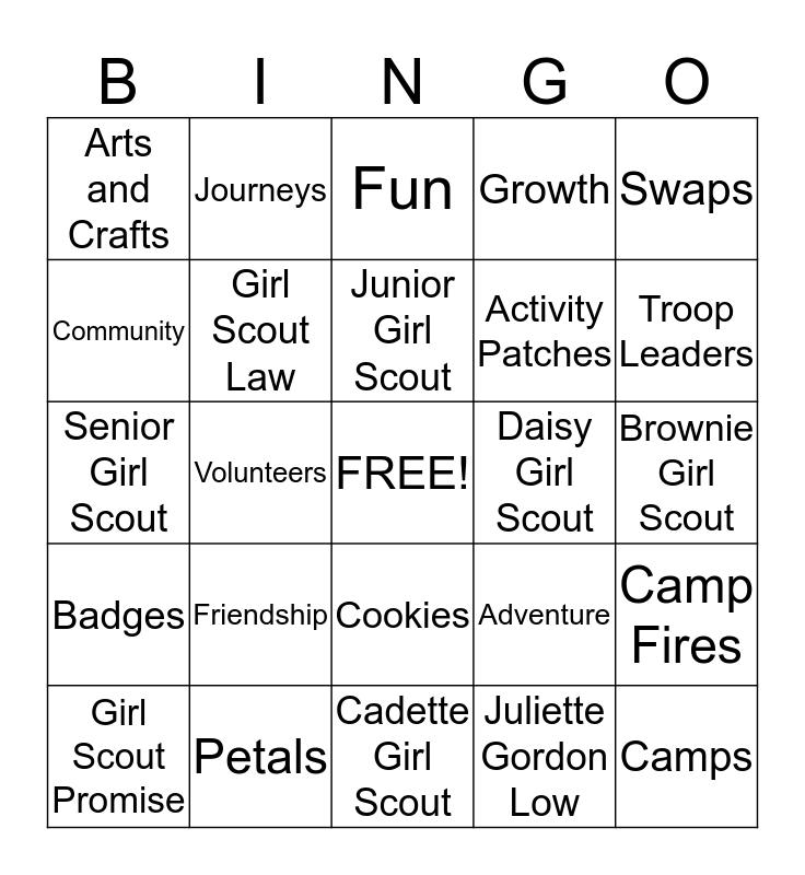 Girl Scout Troop 14528 Bingo Card