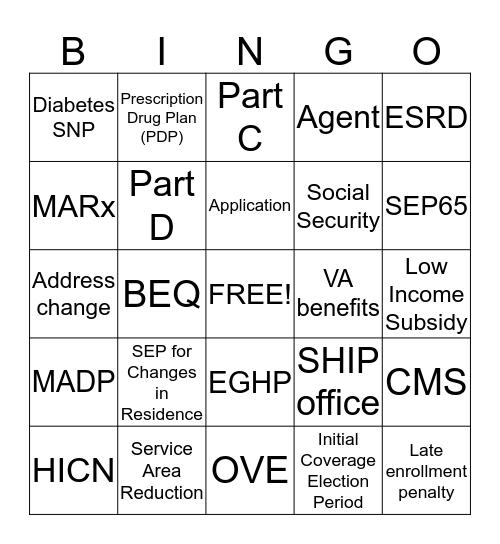 Enrollment  Bingo Card
