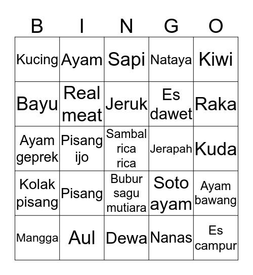 Bingo ga pernah menang Bingo Card