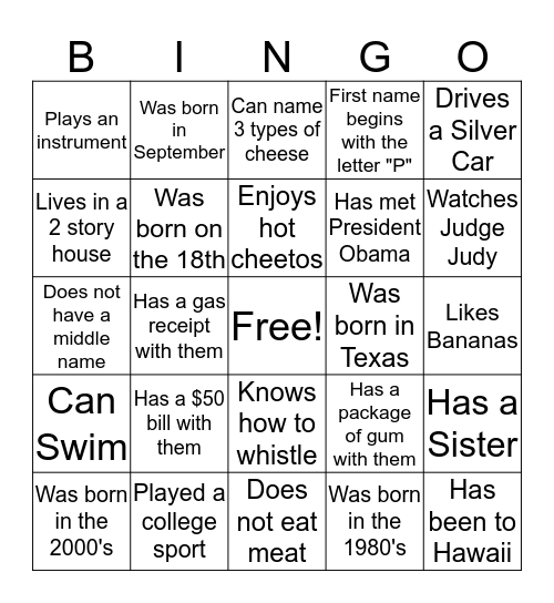 Hubbard/Jernigan Family Reunion Bingo Card