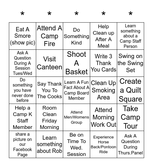 Camp Benedict 2019 - Moving Mountains Bingo Card