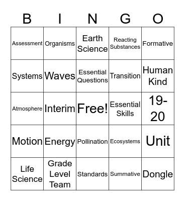 Standards Bingo Card