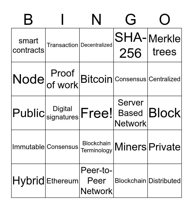 BBC | CBS Blockchain Technology Bingo Card
