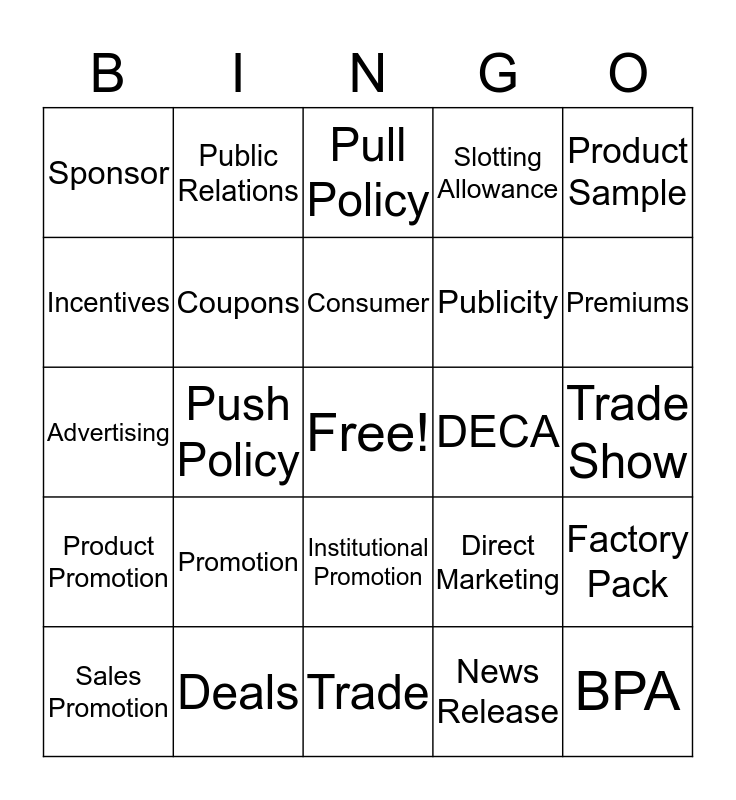 Chapter: 17 Promotional Concepts Bingo Card